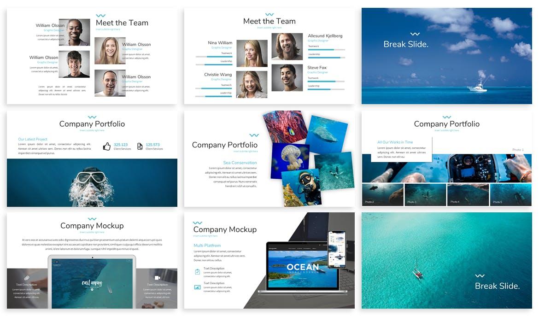海洋主题宣讲PPT幻灯片模版Mare Ocean Google Slides Template插图(2)