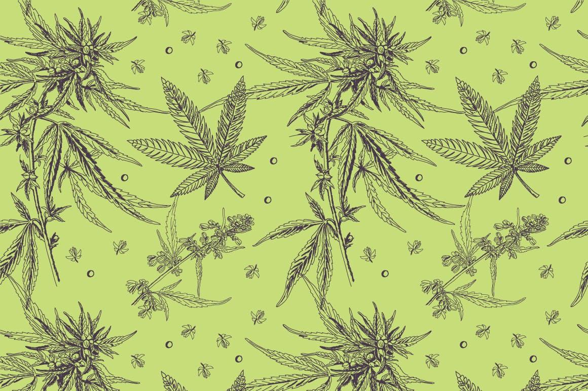 绿植树叶矢量素材轮廓下载Marijuana pattern插图(2)