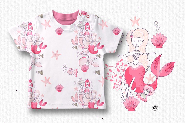 美人鱼粉红色矢量剪贴画和图案Mermaids插图(2)