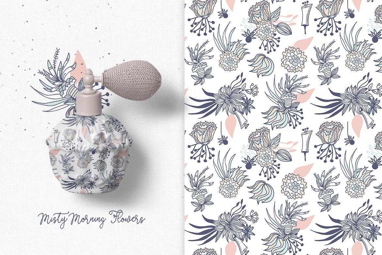 文艺优雅花纹图案矢量图案花纹Autumn seamless pattern插图(2)