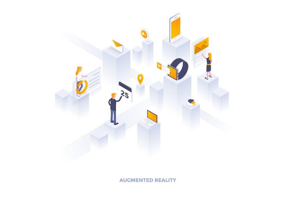 2.5D创意虚拟与现实主题插画设计Modern flat design isometric illustrations  Rdqtds插图(1)