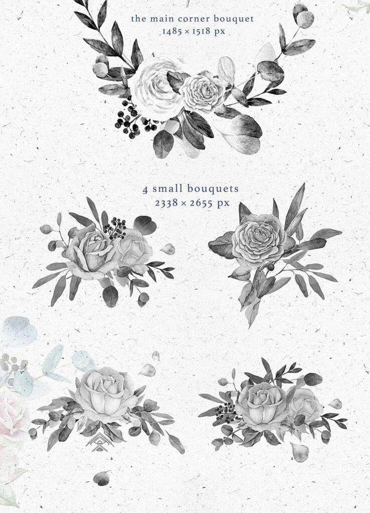 艺术风格灰色字母组合花束装饰图案纹理素材下载Monograms Artarianvol1插图(2)