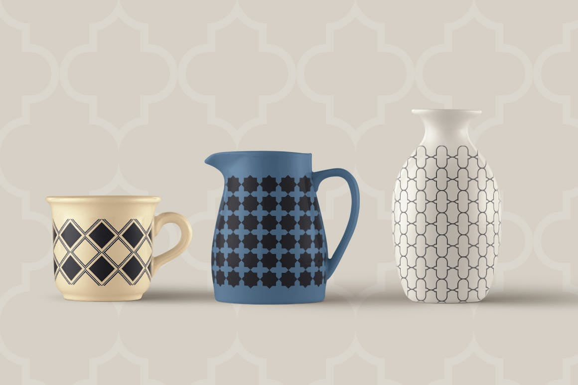 15个摩洛哥风格无缝矢量模式重复排列组合Moroccan Style seamless vector patterns vol1插图(2)
