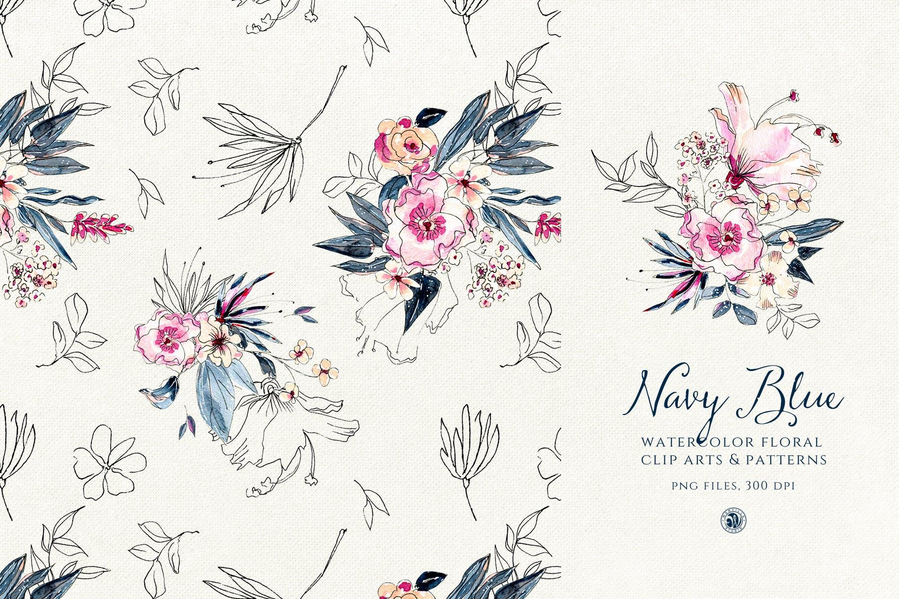 海军蓝花朵手绘水彩花朵和图案装饰元素下载Navy Blue Flowers插图(2)