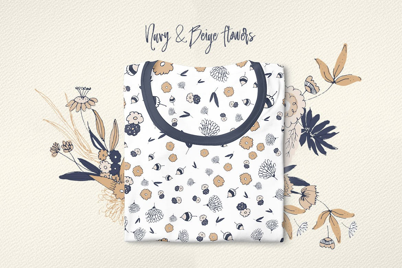 海军蓝和米黄色的花企业品牌装饰图案素材Navy and Beige Flowers插图(2)