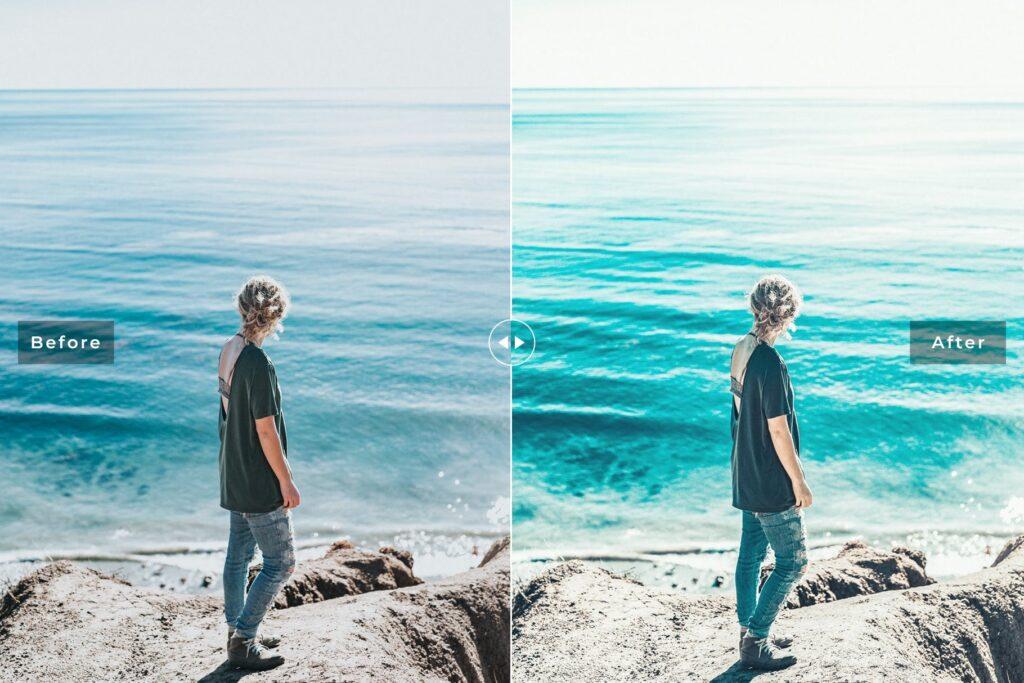 浅绿色和棕色外观颜色及自然色调LR调色预设Ocean Blue Mobile Desktop Lightroom Presets插图(2)