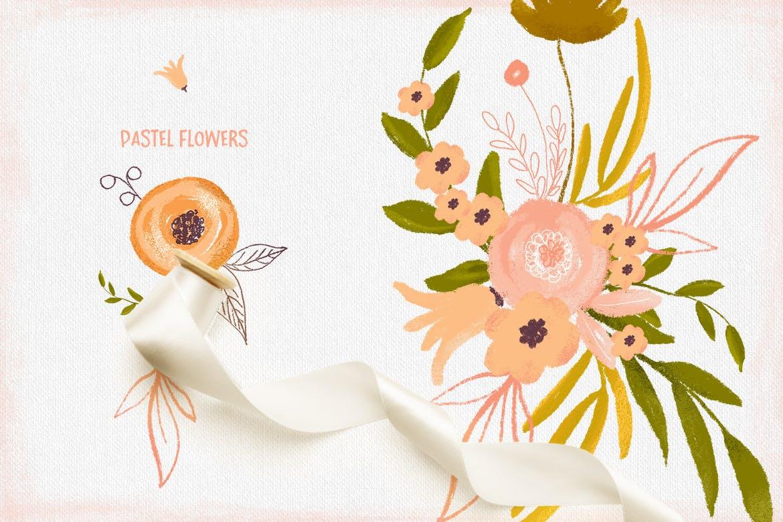 粉彩花卉花卉手工剪纸与金色涂料装饰图案Pastel Flowers插图(2)