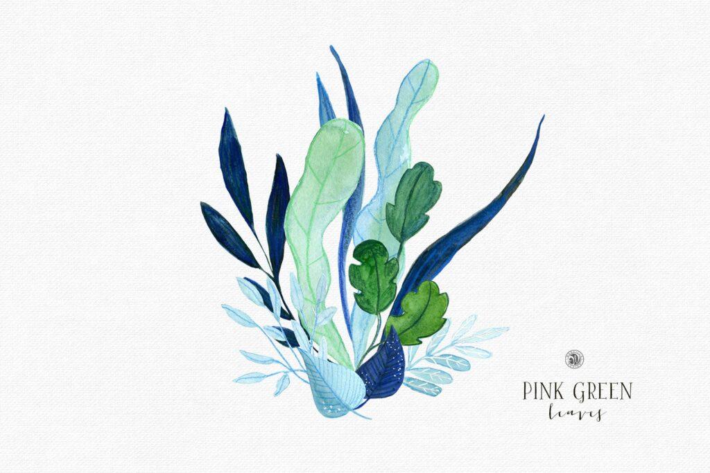 粉红色叶子水彩花卉装饰图案花纹Pink Green Leaves插图(2)