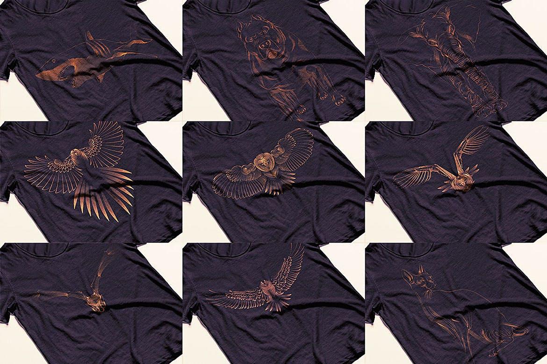 杂点风动物头像设计服装品牌装饰图案Point Animals T-shirt Vector Designs插图(2)
