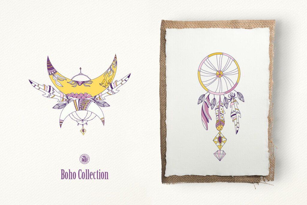 紫色波西米亚手绘系列波西米亚手工剪纸装饰图案Purple Boho Collection插图(2)