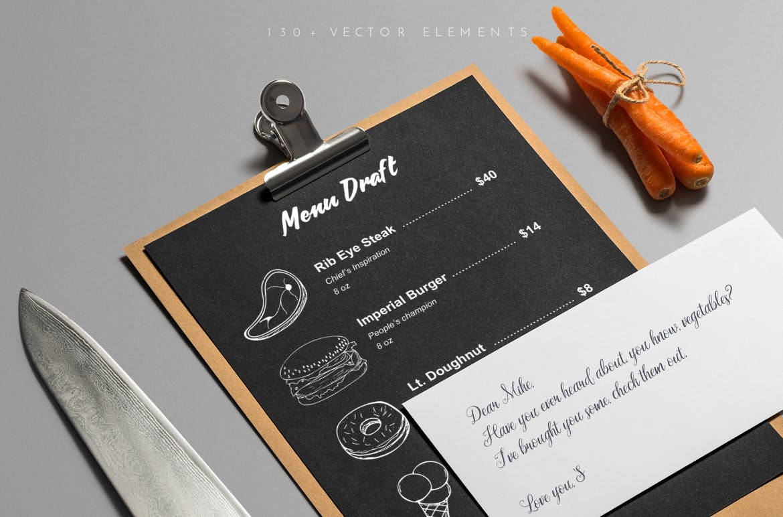 美食餐饮品牌宣传手绘矢量图案素材Ratatouille Sketched插图(2)