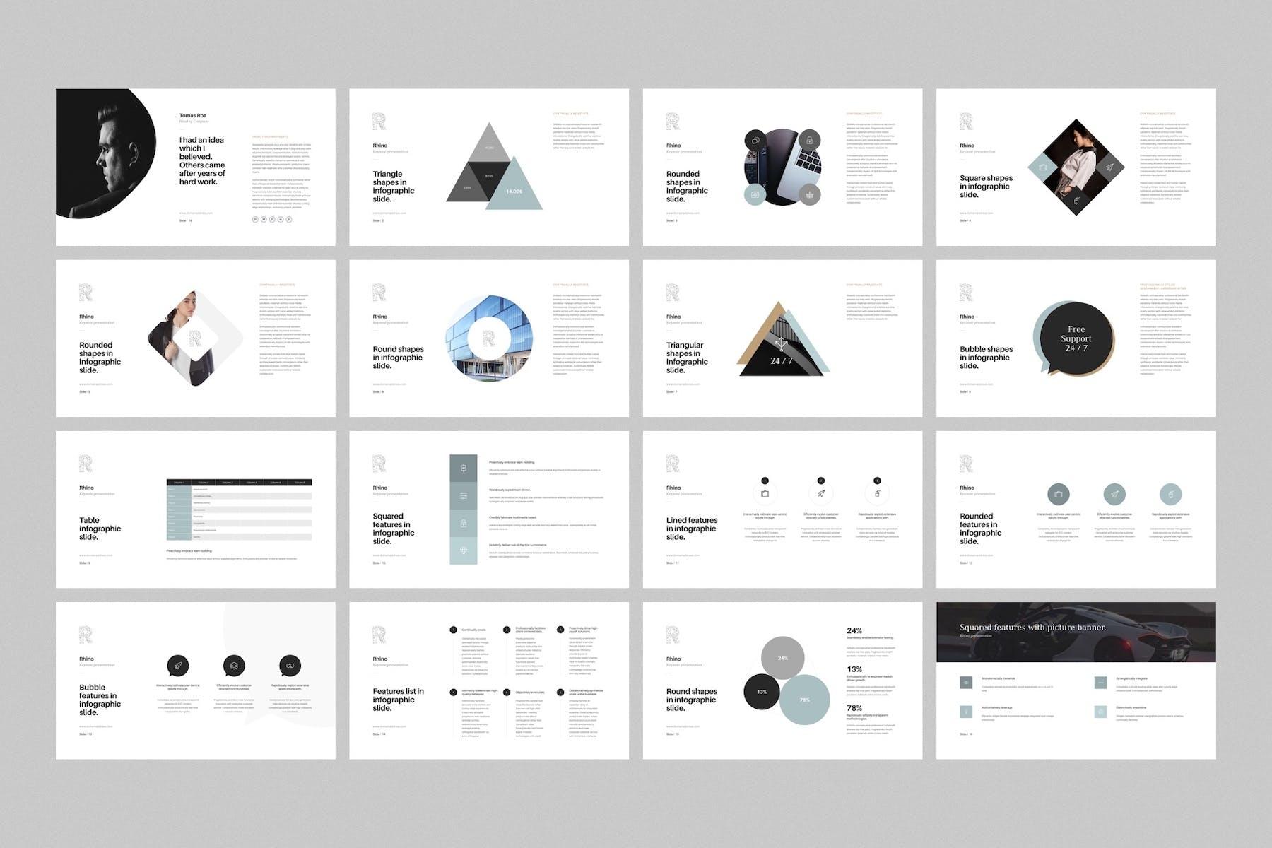 多用途极简风格PPT幻灯片模板下载Rhino Keynote Presentation Template插图(2)