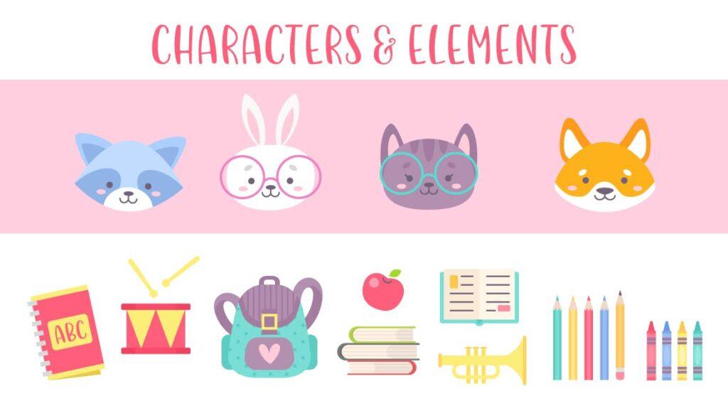 可爱动物肖像相关元素素材下载School Kids Set Seamless Patterns Elements插图(1)