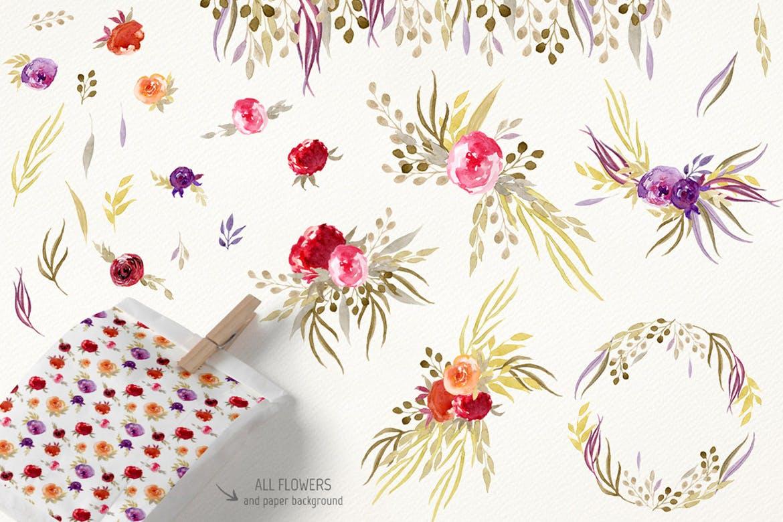 手绘水彩花卉元素婚礼邀请函装饰元素下载Sepia Flowers插图(1)
