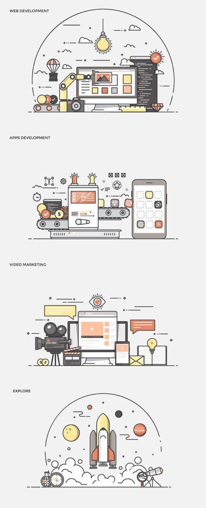 描边风企业办公类场景插画素材 Hjeu5a插图(2)