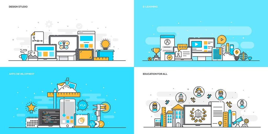 金融类企业数据描边风场景插画设计Set of Flat Line Color Banners Buwzlx插图(3)