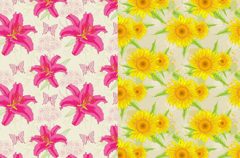 6款花卉无缝图案装饰图案素材Set of Floral Seamless Patterns插图(2)