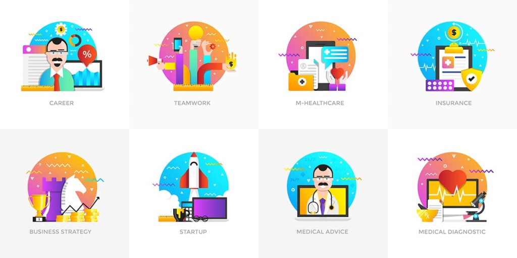 商业活动数据演示主题插画素材Set of Modern Flat Multi Color Conceptual icons插图(2)