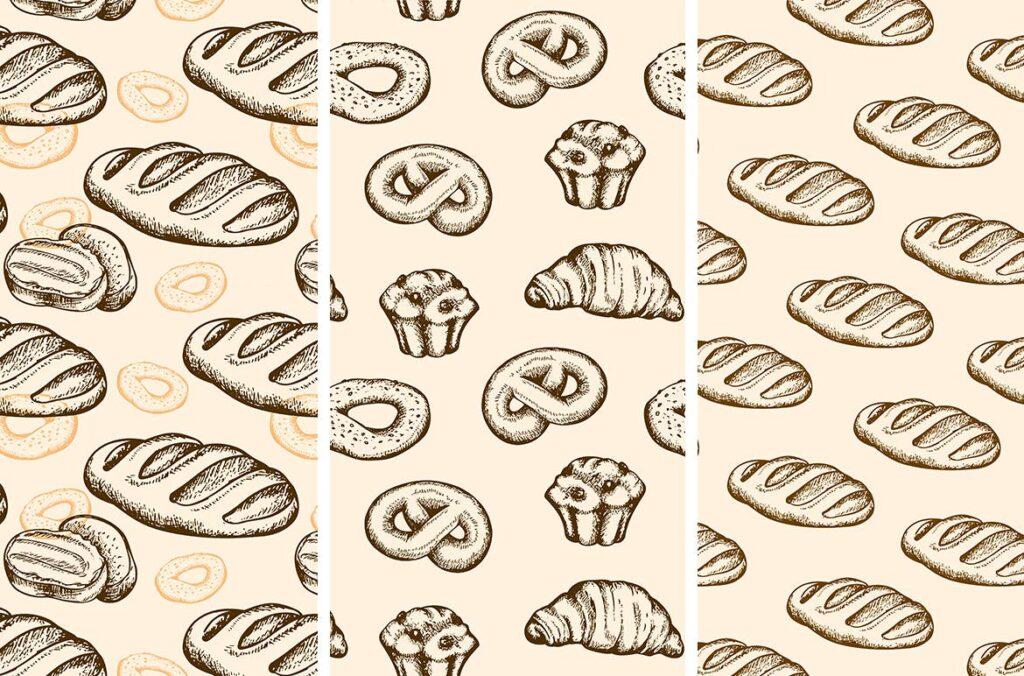 面包手绘复古风格素材包Set of Vintage Bakery插图(2)