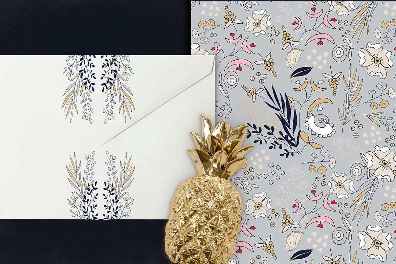 卡片婚礼邀请装饰图案花纹素材下载Silver Flowers插图(2)