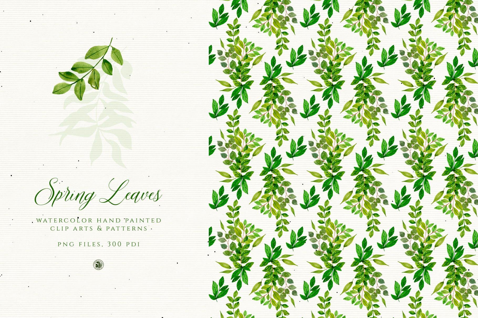 春叶手绘花卉水彩艺术矢量图案素材下载Spring Leaves插图(2)