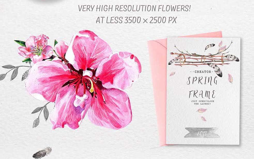 手绘水彩花环装饰图案纹理下载Spring bloom set 80 PNG插图(2)