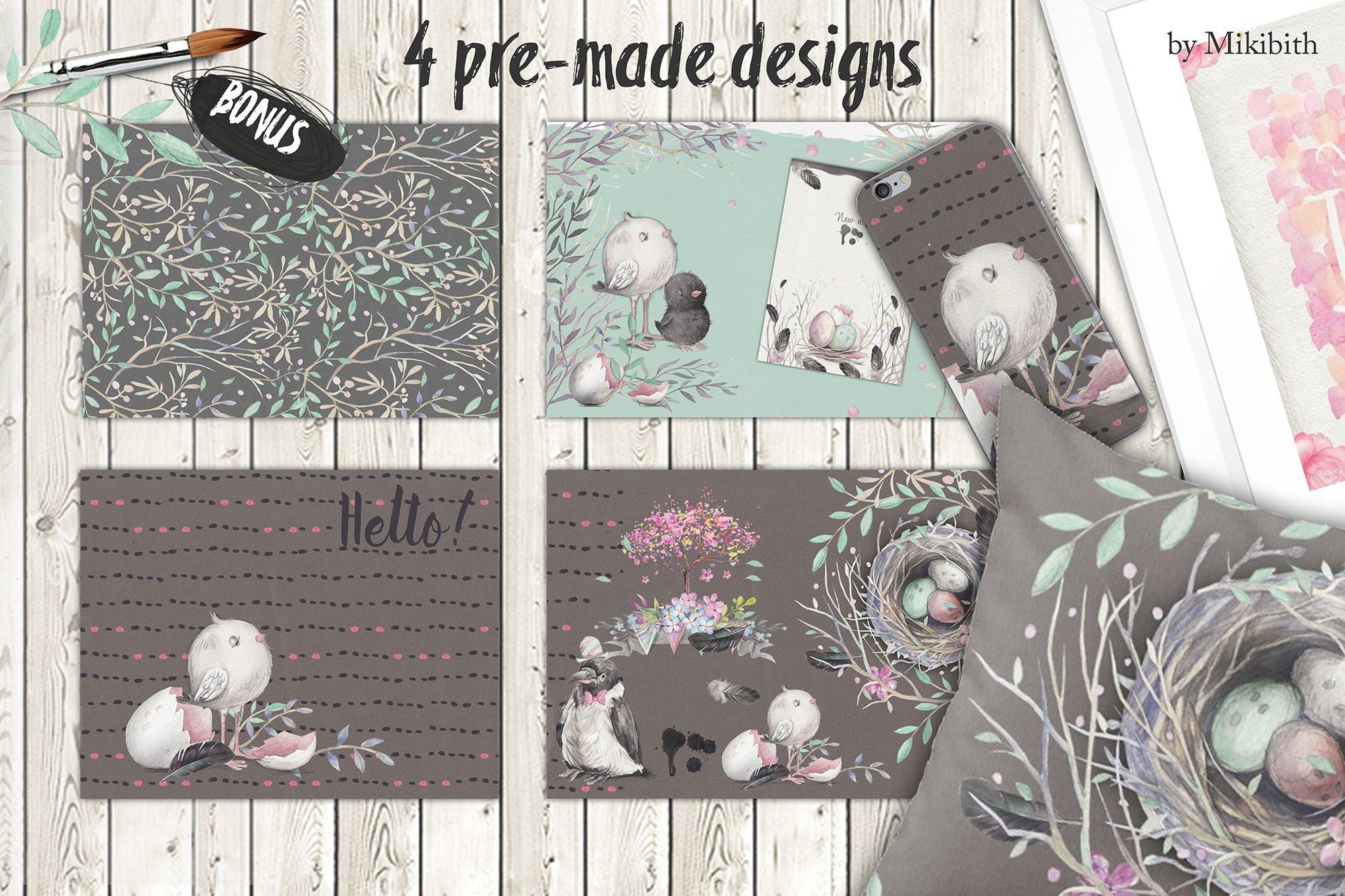春天与乌鸦艺术创作作品集图案纹理素材下载Spring crows bundle插图(2)