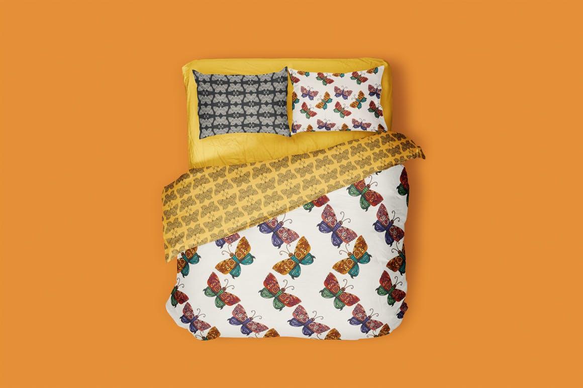 蝴蝶图案矢量素材插图Steampunk Butterfly Patterns Set插图(1)