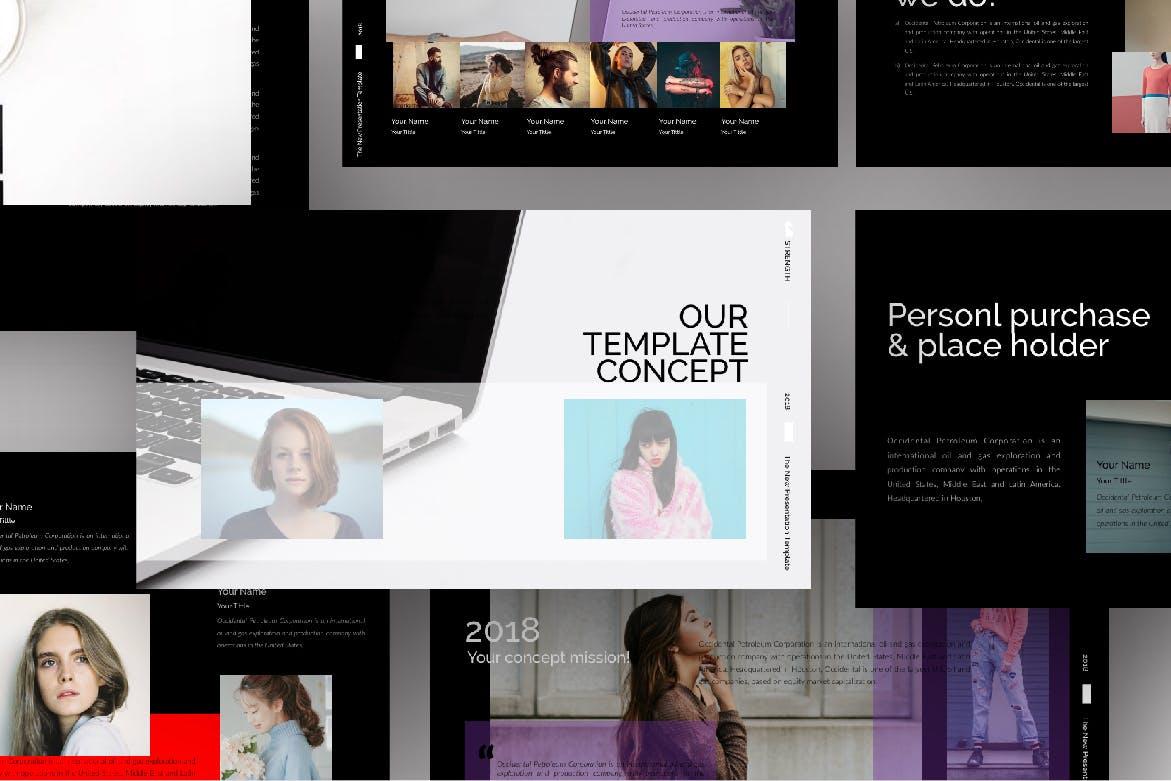 潮流时尚品牌企业宣传PPT幻灯片模板下载Strenght Black Powerpoint插图(2)
