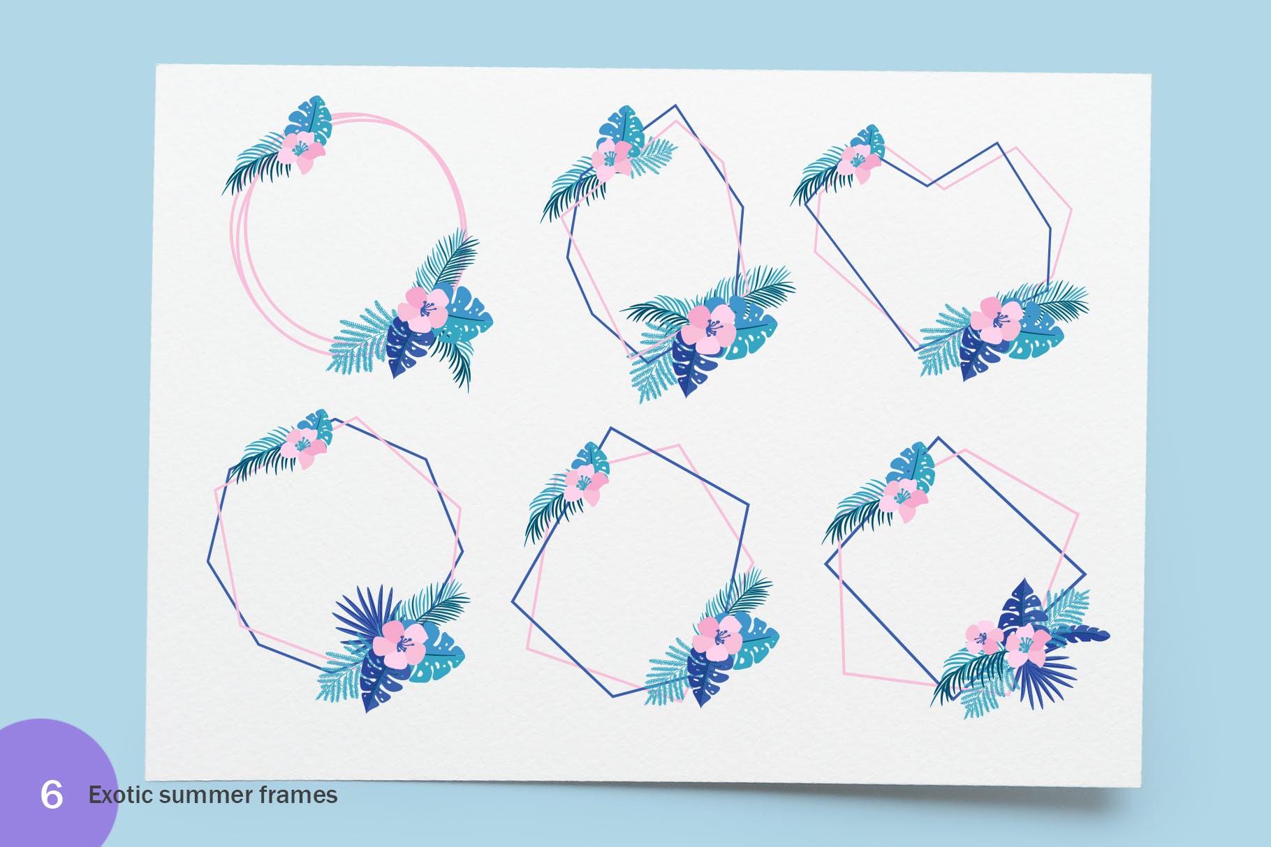 6个夏季无缝矢量图案素材图案纹理Summer Exotic Palm Design Elements SVG插图(2)