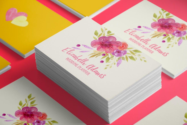 夏日鲜花水彩画元素装饰图案元素Summer Flowers插图(2)