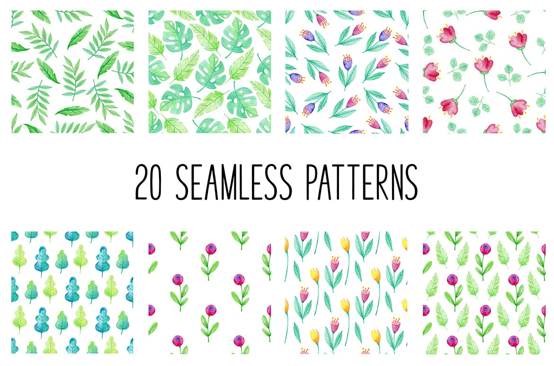 手绘水彩花卉图形元素装饰图案纹理花纹素材Summer Garden Watercolor Design Kit插图(2)