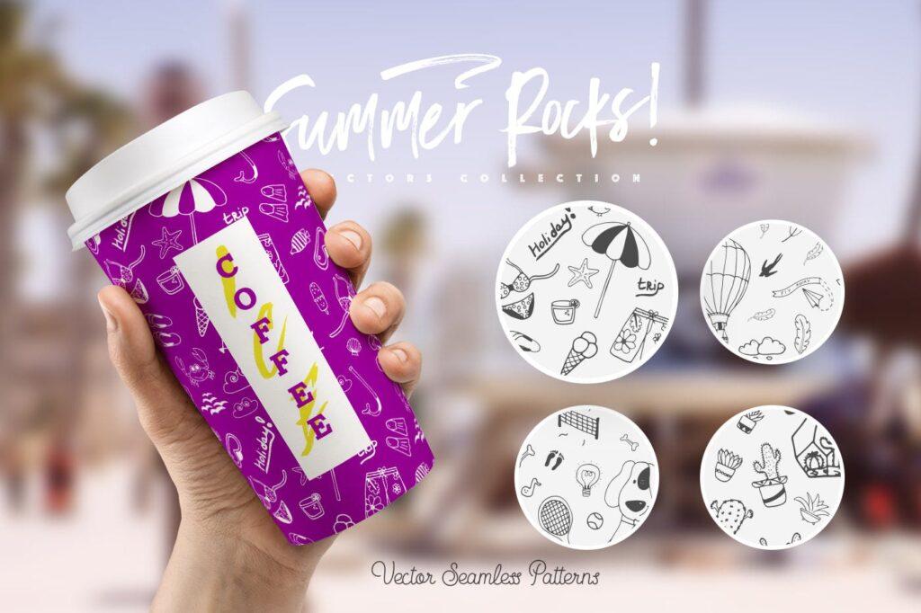 夏季主题元素装饰图案纹理下载Summer Rocks! Vectors Collection插图(2)