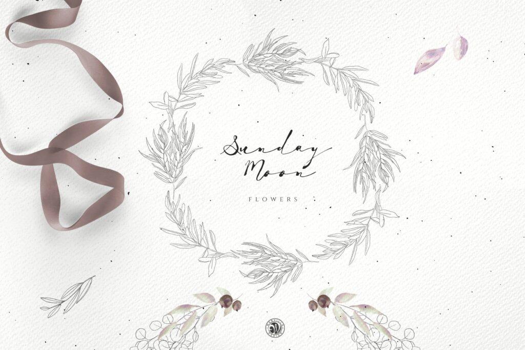 浪漫花卉水彩画婚礼邀请函装饰图案花纹Sunday Moon Flowers插图(2)