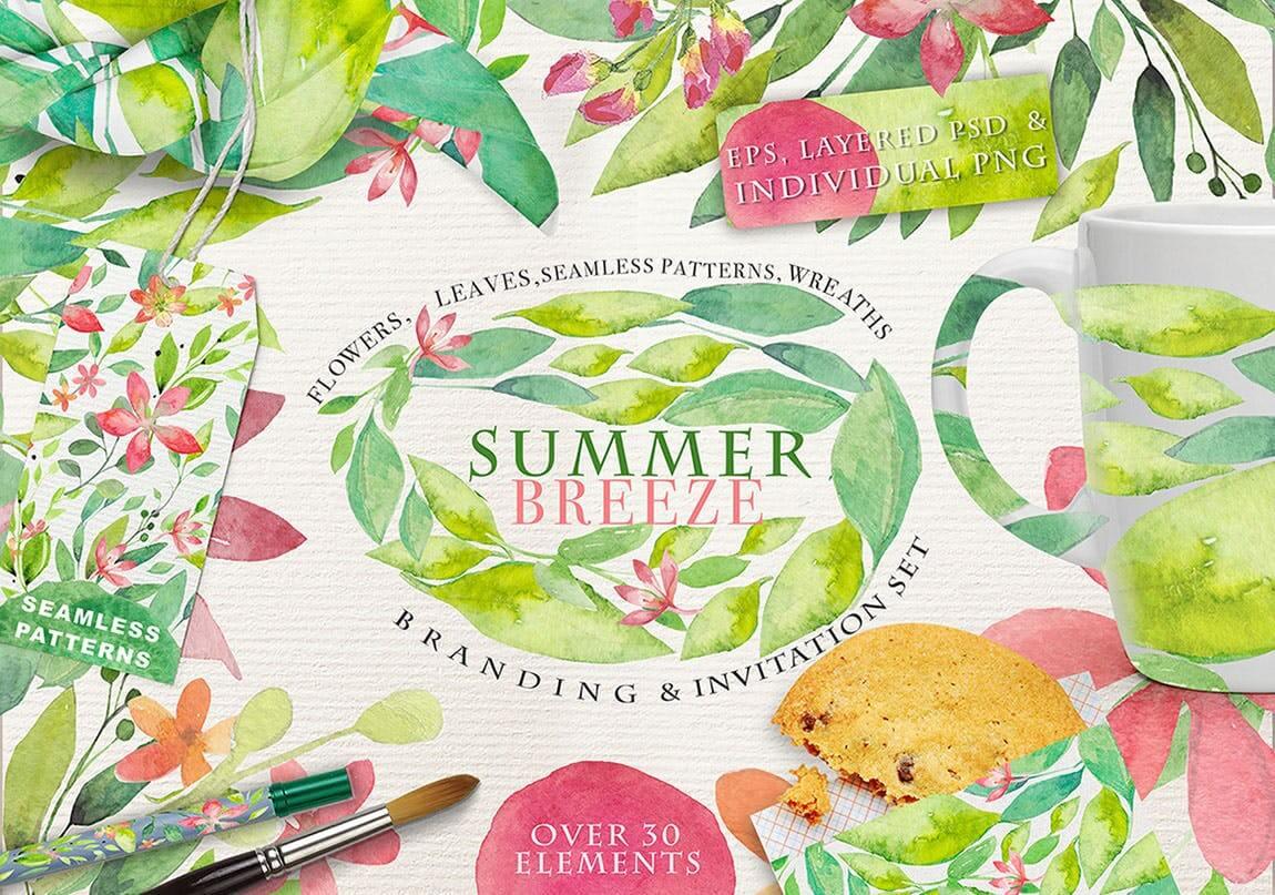 夏季素材鲜花素材装饰排列合集THE SUMMER BREEZE插图(1)