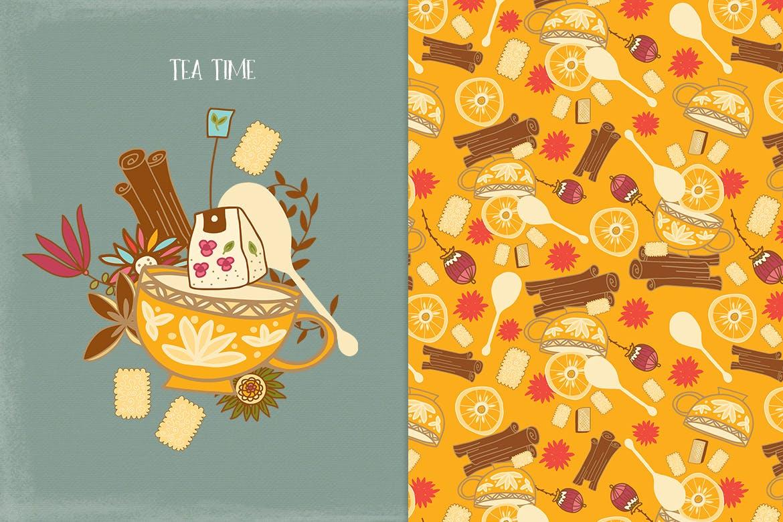 茶品类包装辅助图形图案元素图案/纹理装饰元素下载Tea Time插图(2)