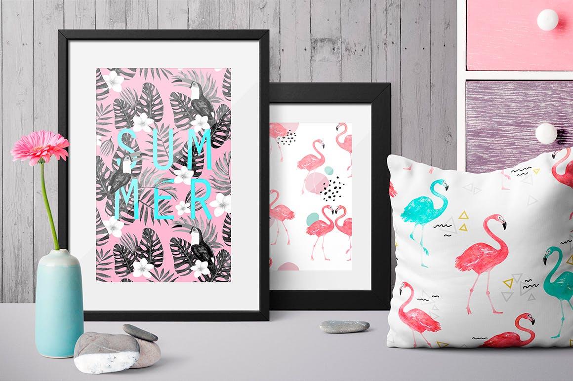 夏季热带森林电视背景墙图案花纹Tropical summer patterns插图(2)