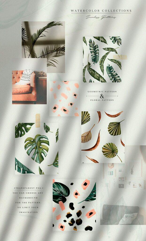 明亮色彩热带绿色植物结合婚礼装饰图案花纹Tropics & Coral Watercolor Set插图(2)