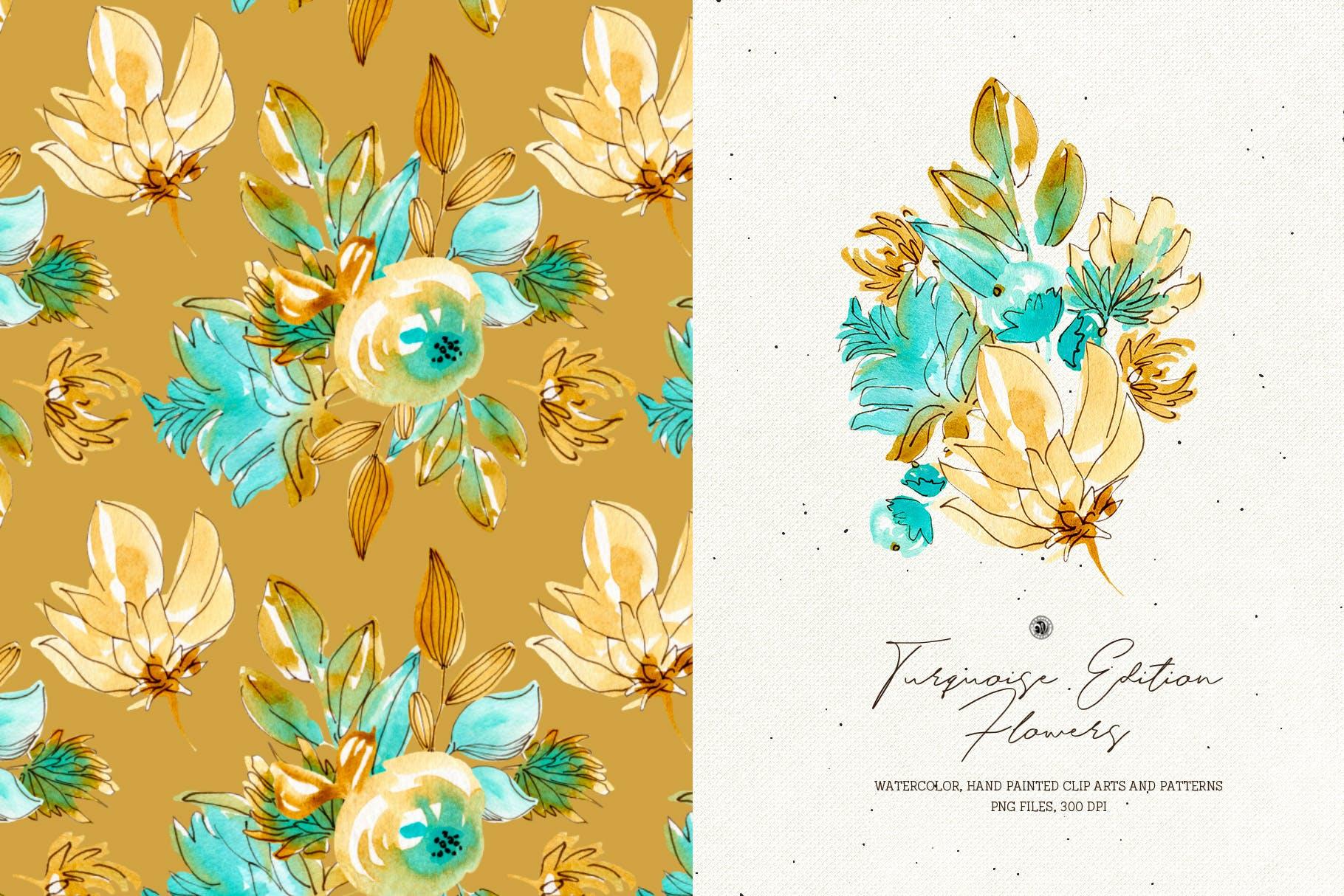 绿松石版水彩花/手绘水彩画/剪贴艺术图案Turquoise Edition Flowers插图(2)