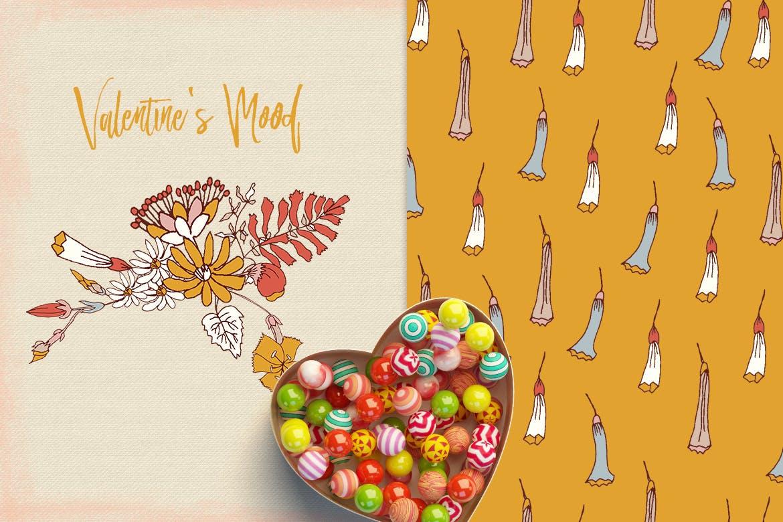情人节主题花卉图案模板素材Valentine's Mood插图(2)