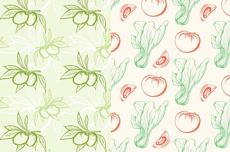 蔬菜类复古风手绘图案装饰怨言Vegetable Seamless Patterns插图(2)