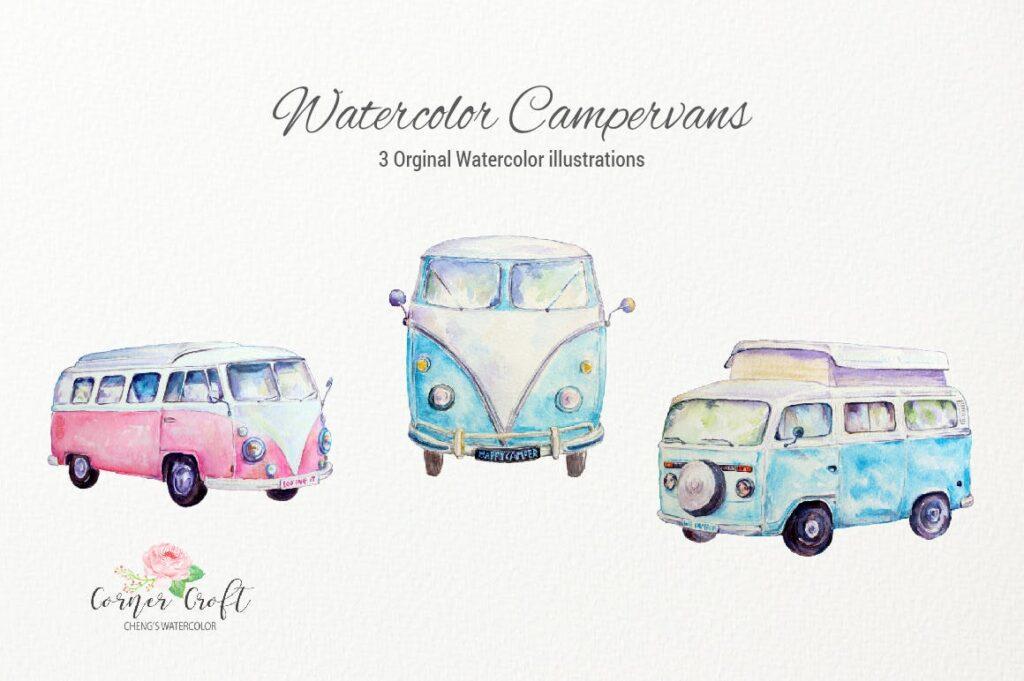 野外露营主题元素创意装饰图案下载Watercolor Campervans Leisure Vehicles插图(1)