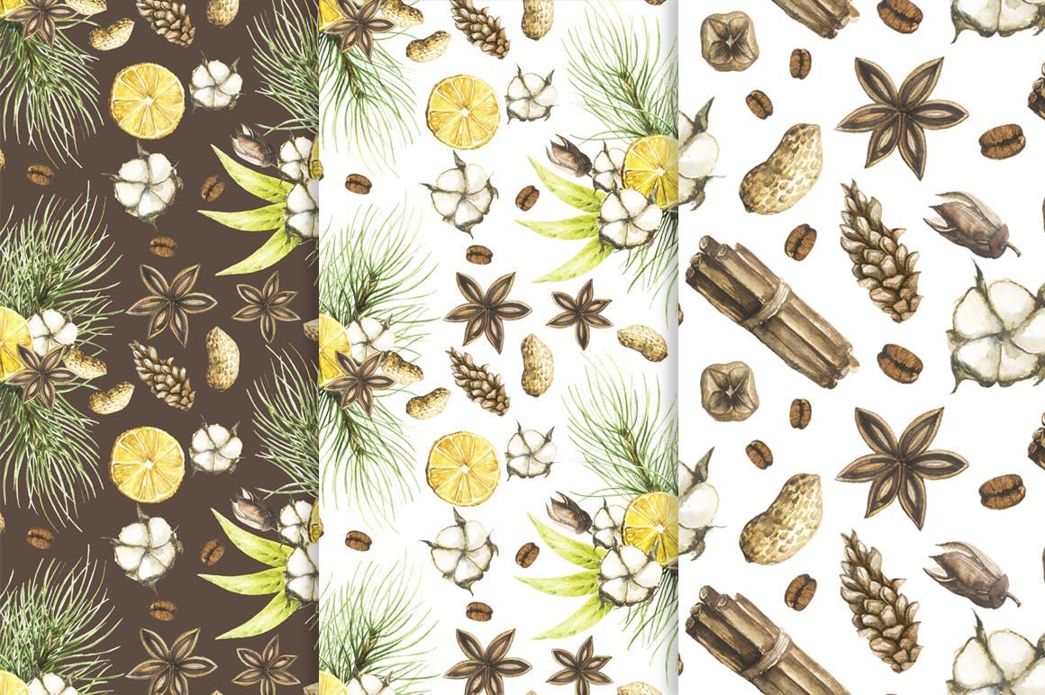 松果/松枝/鹿角森林系列手绘图案纹理元素下载Watercolor Christmas Magic Patterns插图(2)
