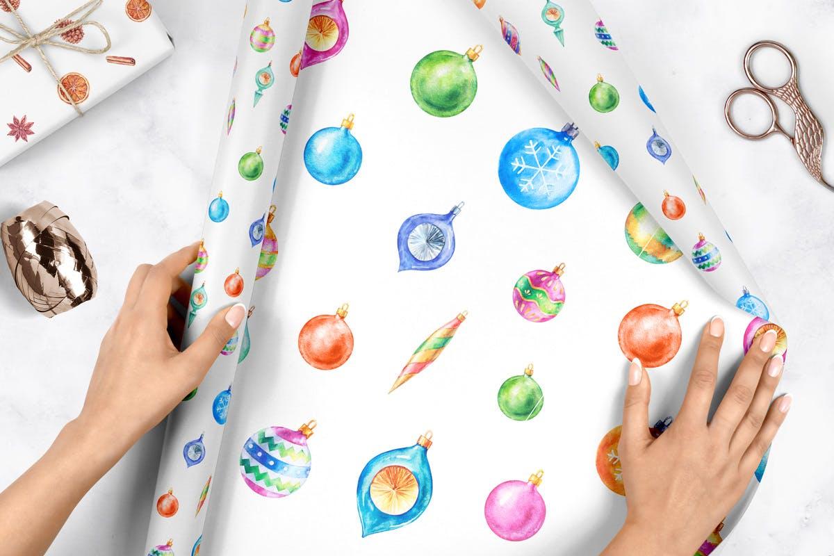 华丽水彩圣诞新年插图装饰图案下载Watercolor Christmas Patterns插图(1)