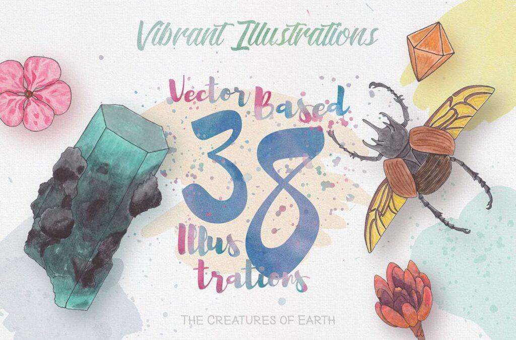 大自然生物创意图案手绘水彩装饰元素下载Watercolor Creatures vol. 1插图(2)