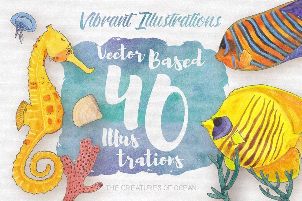 海洋生物系列主题创意图案装饰图案Watercolor Creatures vol 3插图(2)