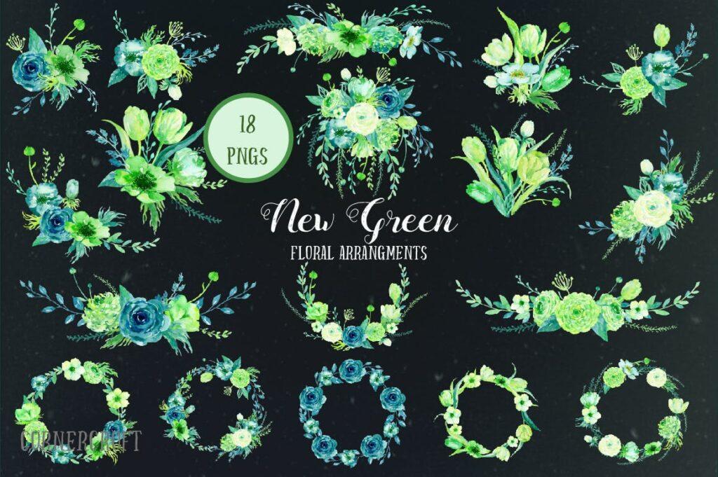 手绘水彩设计工具包全新企业品牌装饰图案花纹Watercolor Design Kit New Green插图(2)