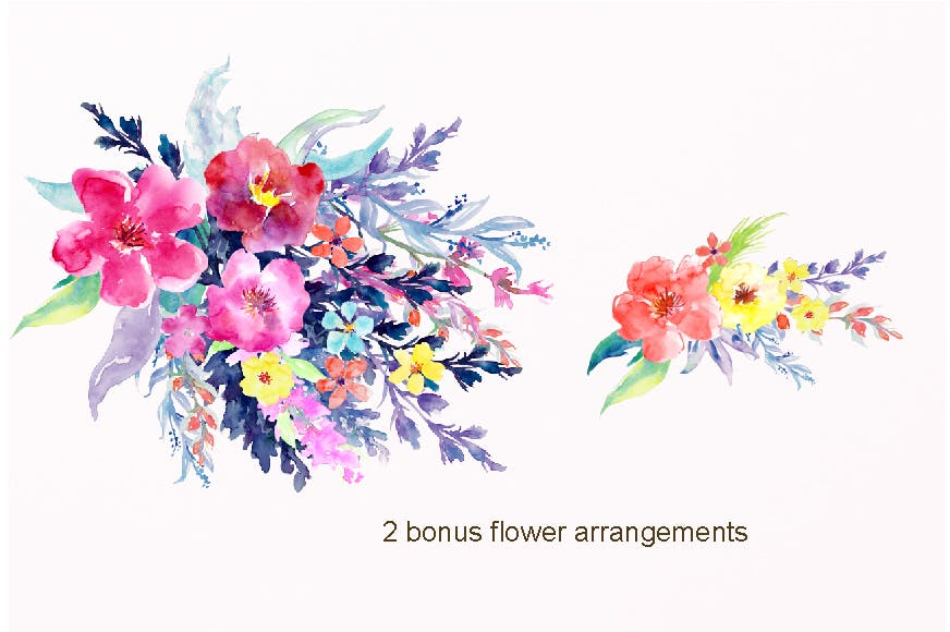 水彩花卉水彩剪纸紫色和橙色Watercolor Flower Collection Sophisticated插图(2)