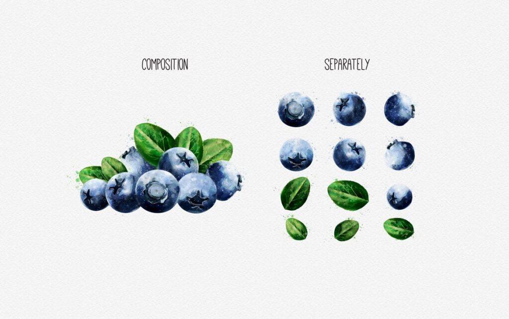 水果蔬菜系列主题水彩装饰图案下载Watercolor Fruits And Vegetables插图(2)