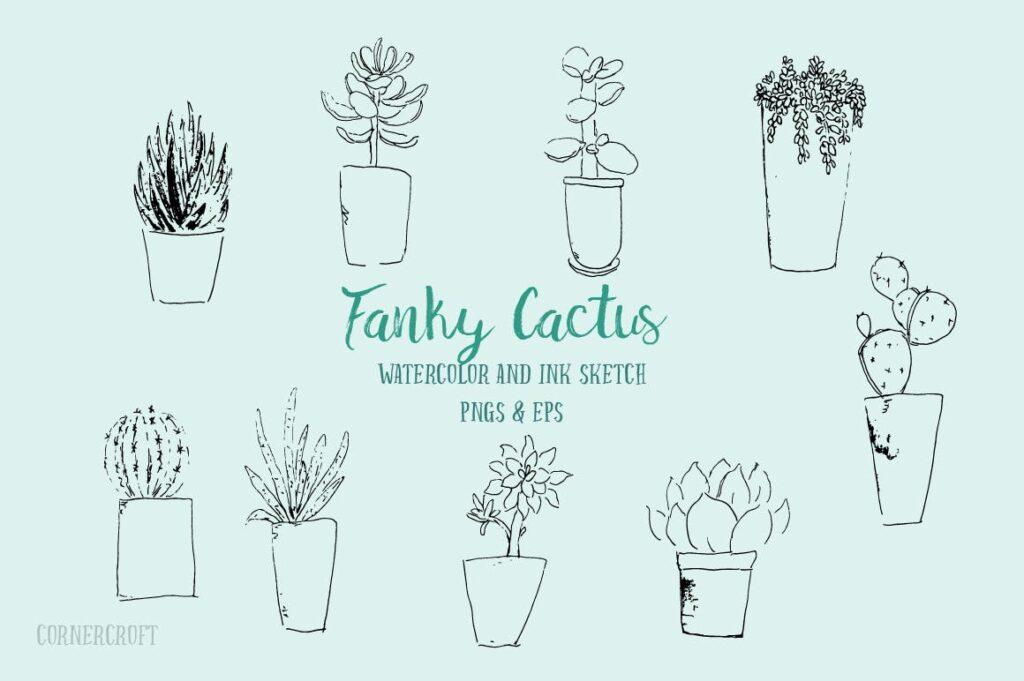 水彩手绘仙人掌多角度图案布艺手提袋装饰图案Watercolor Funky Cactus Vector插图(2)